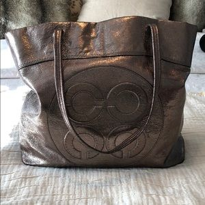 Metallic Gunmetal Coach Bag