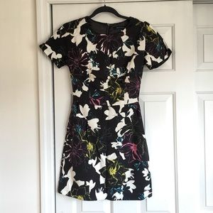 Black Dress with Multi-Color Floral Pattern
