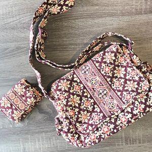Vera Bradley messenger bag and matching wallet set