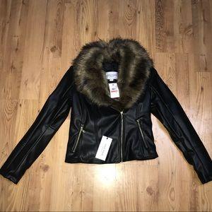 Cole Haan Leather Biker w/ fur NWT