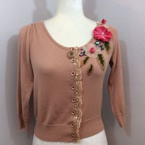 ANTHROPOLOGIE Dove Mauve Pink Cute Beaded Cardigan