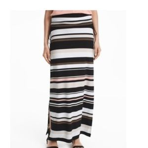 WHBM Stripe Knit Convertible Maxi Skirt