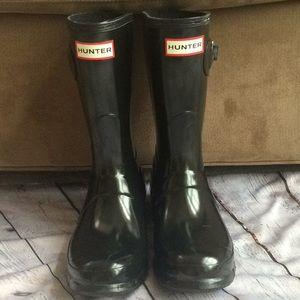 Short black glossy Hunter boots 6 37