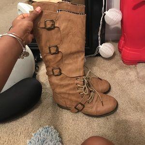 Calf high, beige tie up boots