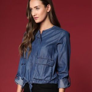 Anthropologie | light blue jean bomber