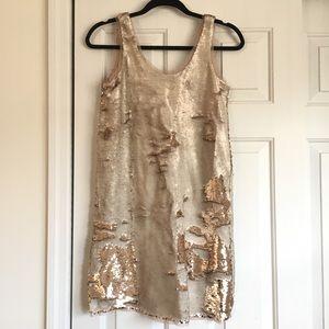 Gold Beads Sleeveless Party Dress