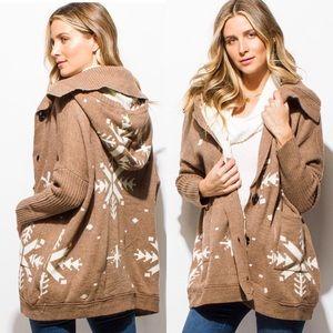 Jackets & Blazers - Arrives 12/18 Khaki Tan Snowflake Sweater/Jacket