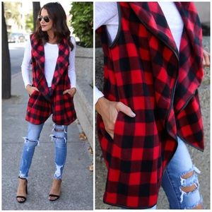 Red Buffalo Plaid Faux Leather Trim Vest
