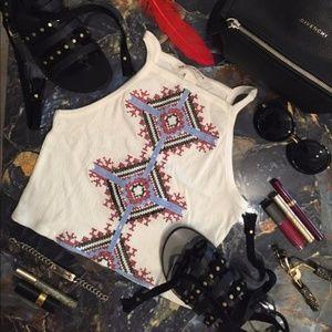 H&M Coachella White Embroidered Crop Top