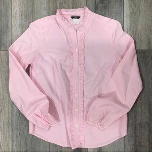J Crew Pink Stripped Ruffle Detail Button-down