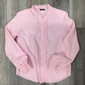 J Crew Pink Stripped Ruffle Detail Button-down