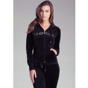 NWT Bebe Logo Black Velour Hoodie with Crystals.S.