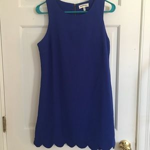 Blue Scalloped Hem Dress