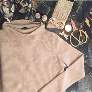 Ann Taylor Pale Pink Ribbed Turtleneck Sweater