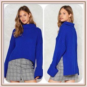 Nasty Gal Royal Blue Turtleneck Sweater