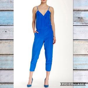 NWT Parker Blue V Neck Ruched Jumpsuit Romper