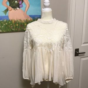 NWWT Chloe Ivory Silk Embroided Blouse