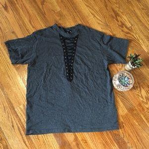 Grunge Lace Up Gray Tshirt