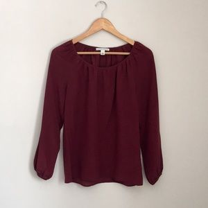 Banana Republic Wine Silk Blouse Size XS