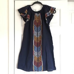 Mexican Style Dress with Ruffle Sleeves