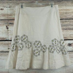 Anthropologie Odille Linen Skirt Sz 4 Beige A-Line