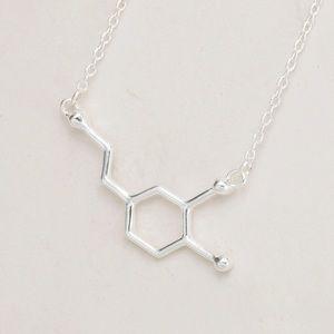 Dopamine molecule necklace silver