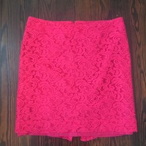 Hot Pink Lace Overlay Skirt