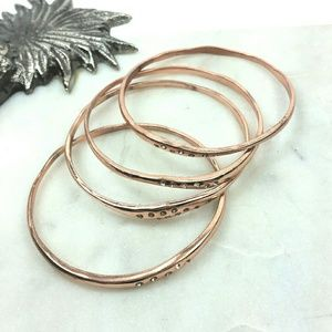 Bracelet lot of 4 rose gold and rhinestone Bangles
