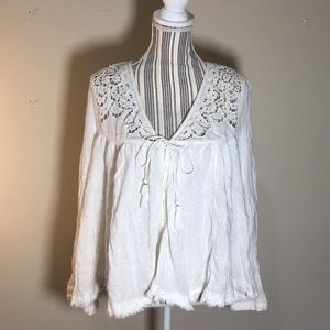 White free people button down top