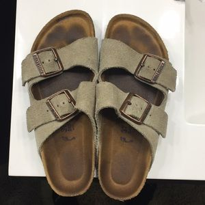 Taupe Soft footed suede Birkenstock.