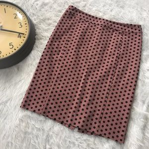 LOFT Pencil Career Skirt Mauve Polkadot Hip T13