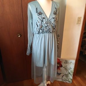 Sheer overlay floral embroidered dress large blue