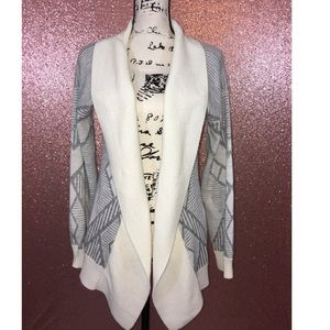 Charlotte Russe off-white & grey tribal cardigan