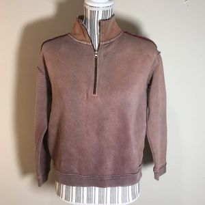 Free people distressed 3/4 zip pull over
