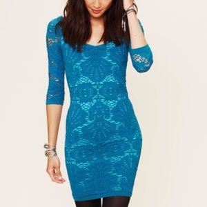 Free People Medallion Bodycon Blue Dress S / XS