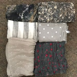Bundle of Six Gray Scarves
