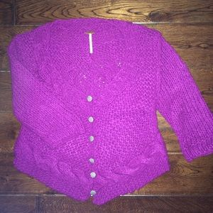Free People Knit Sweater W/ Gingham Buttons