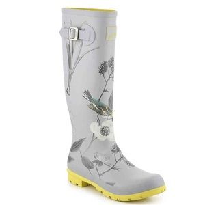 NWT JOULES WELLY FLORAL RAIN BOOTS SILVER SIZE 9