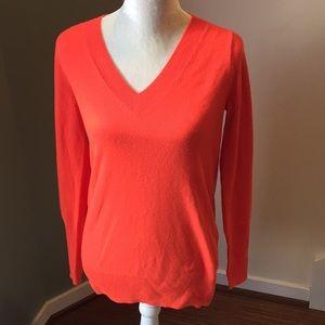 J. Crew Orange 100% Cashmere V Neck Sweater , NWT