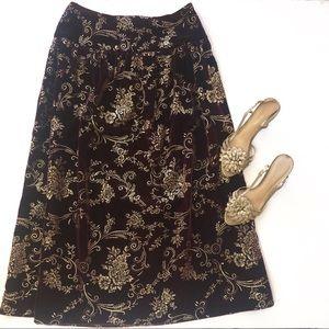 Vintage McClintock Velvet midi Skirt w/ gold foil