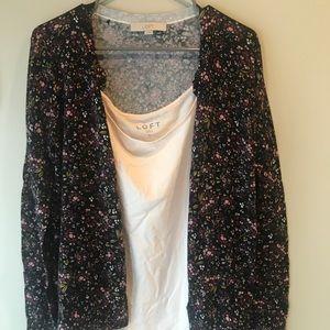 Ann Taylor LOFT Pink tank and floral cardigan
