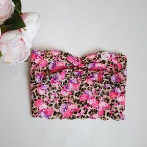 PINK lace bralette floral leopard print -D3