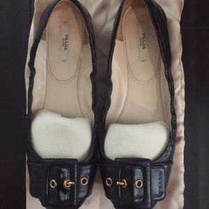 Prada Black Buckle Flats