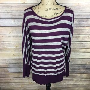 LOFT Sz Large Purple Brown Stripe Knit Top