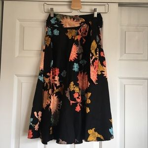 Zara Black Skirt with Floral Pattern