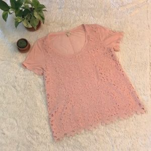 Pink J. Crew eyelet lace T-Shirt Top