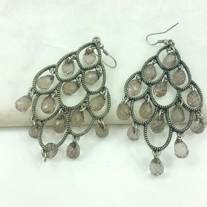 Earing drop Chandelier Beaded taupe brown
