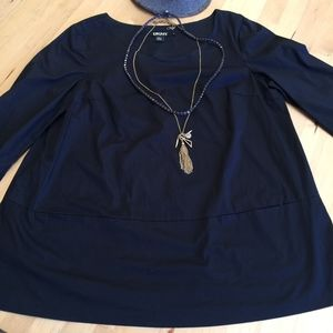 Navy DKNY shirt tunic top, Size 8