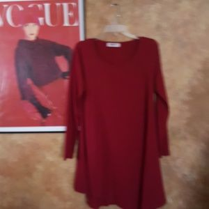 Asymmetrical tunic top dress red wine