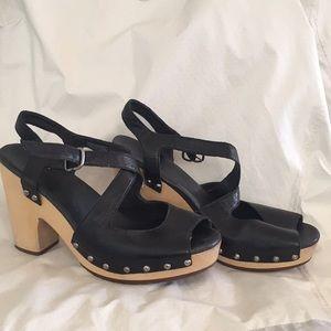 UGG wood sole black leather sandals